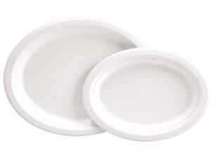 Teller aus Bagasse oval