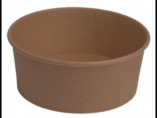 Salatschale aus braunem Kraftkarton, rund, ø 150 mm, Höhe 60 mm, 650 ml,