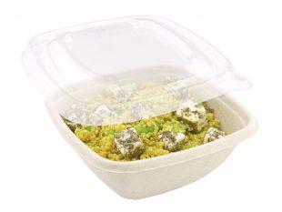 Salatschale aus Bagasse eckig