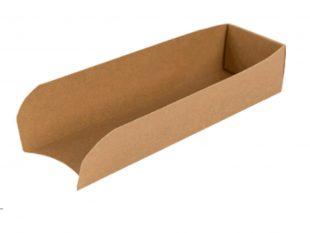 Hot Dog Box offen, aus braunem Kraft- karton, 18 x 5 x 3.5 cm, unbeschichtet