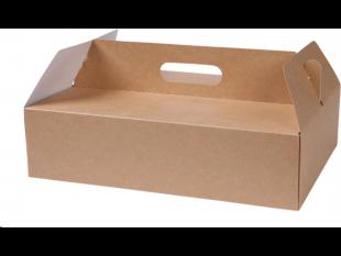 Tragekarton für Gebäck aus Kraftkarton braun, 34 x 24 x 9 cm, innen beschichtet