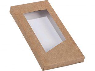 Fensterschachtel mit Öffnung, Kraft 160×80/14mm, flach geliefert für